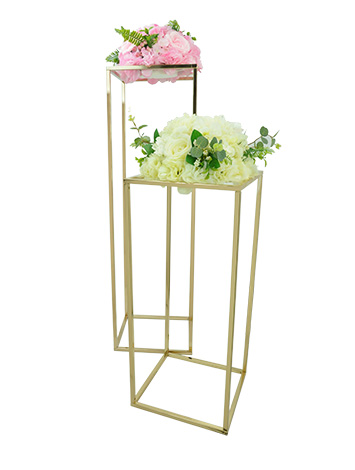 Rectangle Gold Metal Wedding Flower Vase